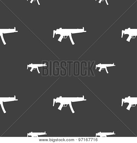 Machine Gun Icon Sign. Seamless Pattern On A Gray Background. Vector
