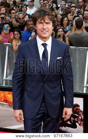 NEW YORK-JUL 27: Actor Tom Cruise attends the US Premiere of 'Mission: Impossible - Rogue Nation' in Times Square on July 27, 2015 in New York City.