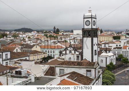 Top view of roofs in center Ponta Delgada, Sao Miguel island, Azores.