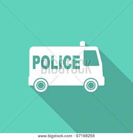 police flat design modern icon with long shadow for web and mobile app