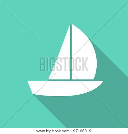 yacht flat design modern icon with long shadow for web and mobile app