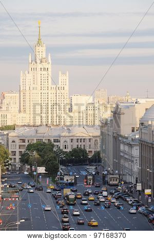 Moscow, Russia, Juli, 3, 2015: view of the evening Moscow with the high-rise building on Kotelnicheskaya Embankment in Moscow, Russia