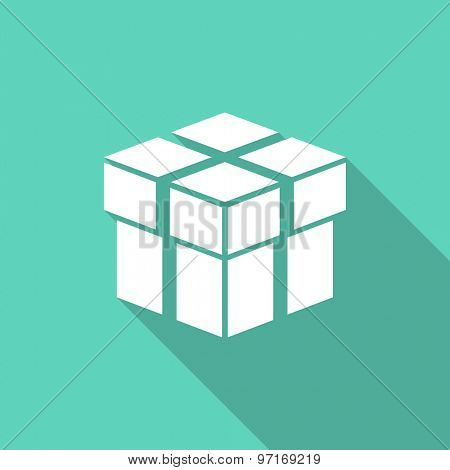 box flat design modern icon with long shadow for web and mobile app