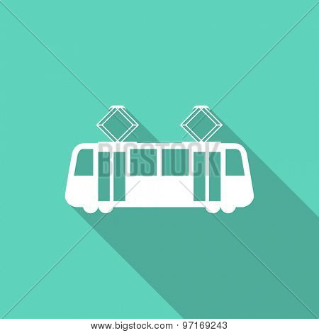 tram flat design modern icon with long shadow for web and mobile app
