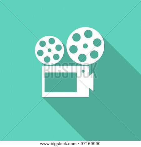 movie flat design modern icon with long shadow for web and mobile app