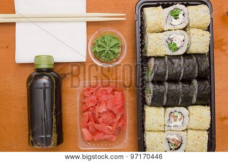 Set Of Sushi And Rolls