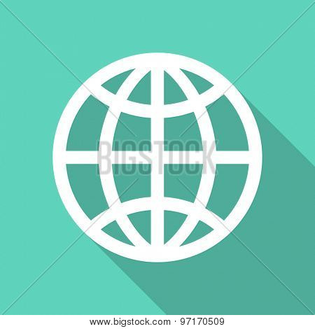 earth flat design modern icon with long shadow for web and mobile app