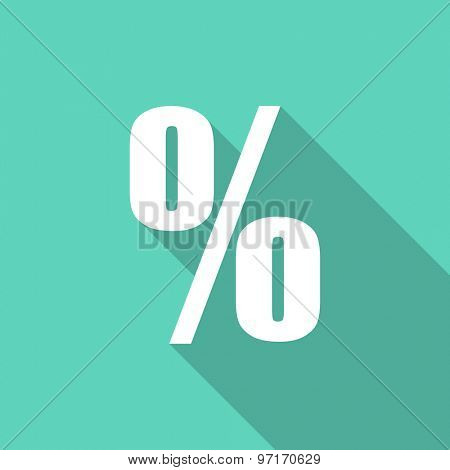percent flat design modern icon with long shadow for web and mobile app