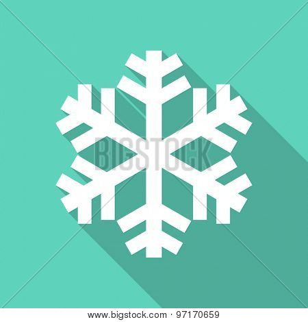 snow flat design modern icon with long shadow for web and mobile app