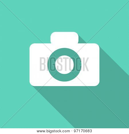 camera flat design modern icon with long shadow for web and mobile app