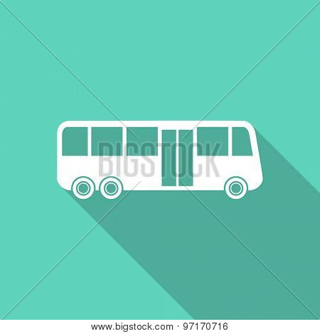 bus flat design modern icon with long shadow for web and mobile app