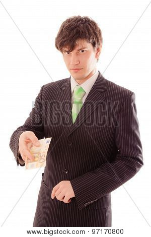 Man In Suit Shows Banknote