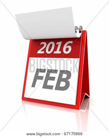 February of 2016 calendar, 3d render