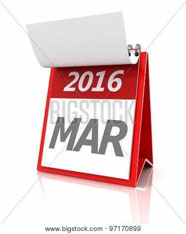 March of 2016 calendar, 3d render