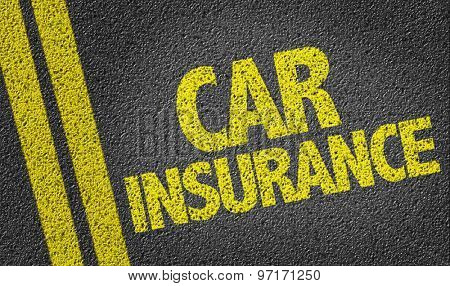 Car Insurance written on the road