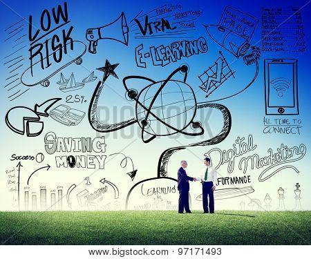 Business Men Handshake Doodle Concept