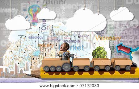 Funny cartoon image of businessman riding carton box