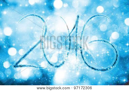 New year 2016 on a blue bokeh background