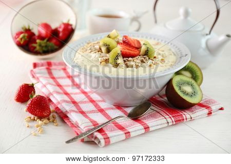 Healthy breakfast with homemade oatmeal, close up