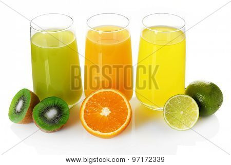 Glasses of different juice with fruits isolated on white
