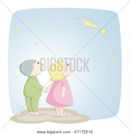 Two Children See A Shooting Star
