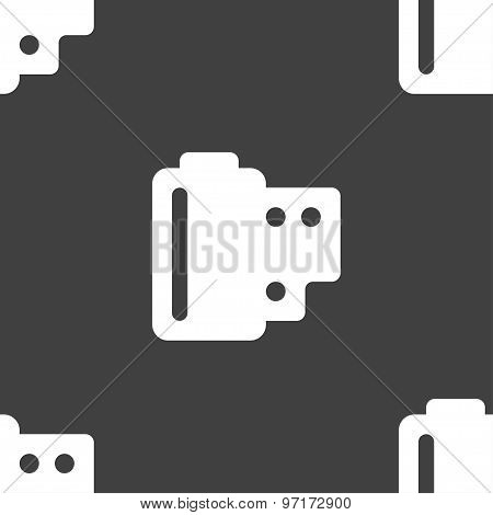 35 Mm Negative Films Icon Sign. Seamless Pattern On A Gray Background. Vector