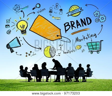 Silhouette Business People Discussion Meeting Outdoors Brand Concept