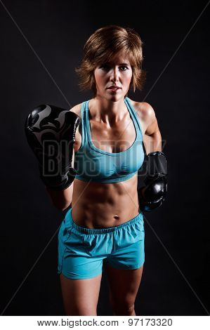 Fighter Woman in boxing gloves