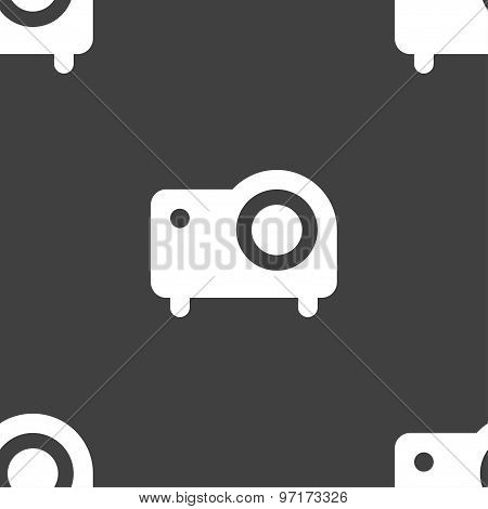 Projector Icon Sign. Seamless Pattern On A Gray Background. Vector