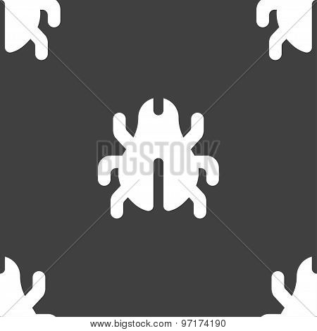 Software Bug, Virus, Disinfection, Beetle Icon Sign. Seamless Pattern On A Gray Background. Vector