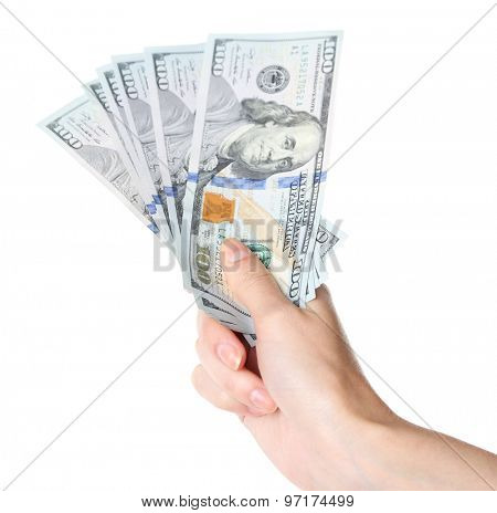Female hand holding dollars isolated on white