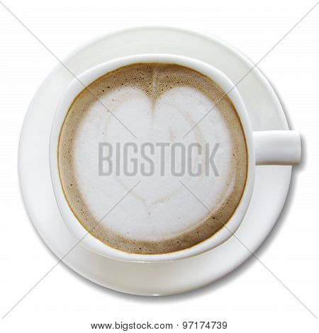 Coffee Cup Isolated On White, Top View