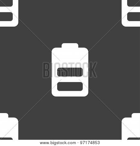 Battery Half Level, Low Electricity Icon Sign. Seamless Pattern On A Gray Background. Vector