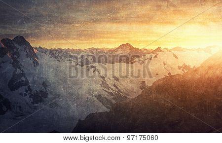 Natural beautiful landscape of sunrise above mountains