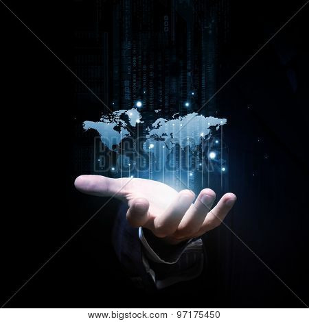 Close up of businessman hand showing digital planet