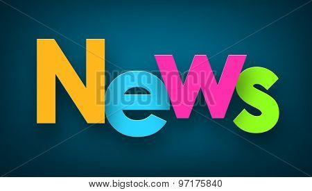 Colorful news sign over dark blue background. Vector illustration.