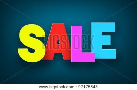 Colorful sale sign over dark blue background. Vector holiday illustration.