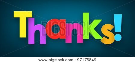 Colorful thanks sign over dark blue background. Vector illustration.