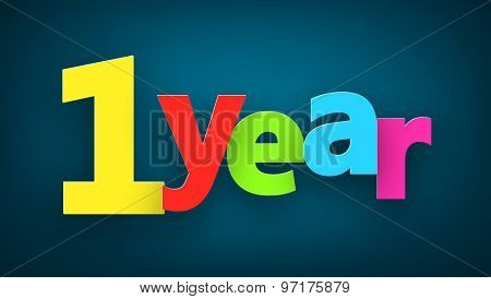 one year paper colorful sign over dark blue. Vector illustration.
