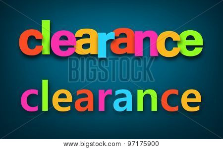 Colorful clearance sale sign over dark blue background. Vector holiday illustration.