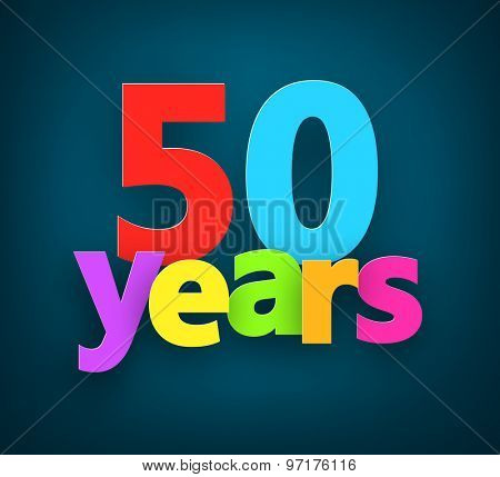 Fifty years paper colorful sign over dark blue. Vector illustration.