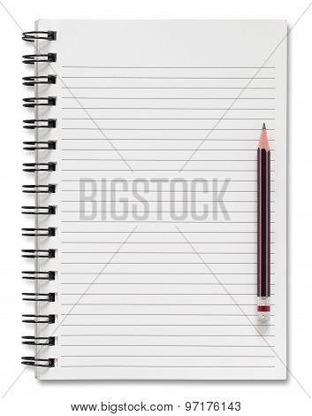 Blank Spiral Notebook And Pencil Isolated On White