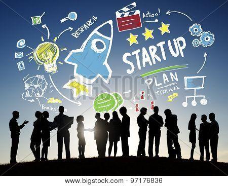 Start Up Business Launch Success Business Communication Concept