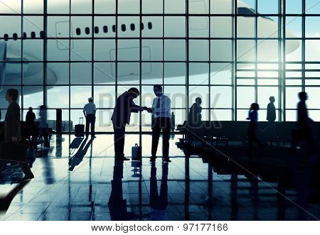 Business Travel Handshake Terminal Airport Concept