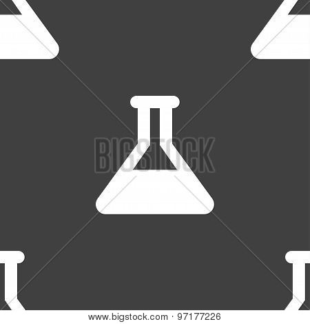 Conical Flask Icon Sign. Seamless Pattern On A Gray Background. Vector