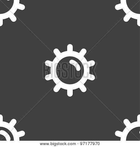 Sun Icon Sign. Seamless Pattern On A Gray Background. Vector