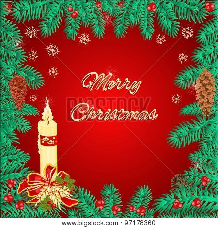 Merry Christmas Frame  Of Pine Needles And Candle Vector