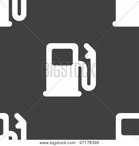 Petrol Or Gas Station, Car Fuel Icon Sign. Seamless Pattern On A Gray Background. Vector