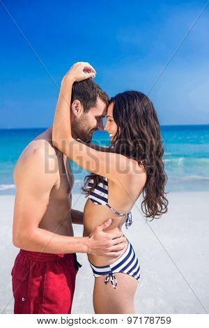 Happy couple embracing at the beach on a sunny day