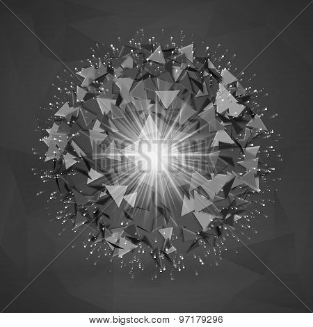 Abstract Polygonal Element. Explosion Of 3D Sphere With Triangles
